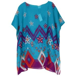 Do Everything in Love Chevron with Flower Poncho